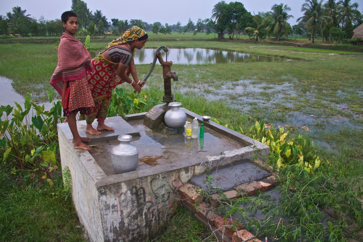 Climate-proof tube wells have been constructed in several villages, providing much needed freshwater to the local communities © Nisha D'Souza